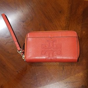 Tory Burch Orange Wristlet Wallet